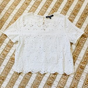 One Clothing White Lace crop top